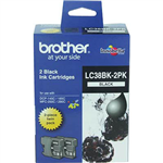 BROTHER LC38BK2PK INK CARTRIDGE BLACK PACK 2