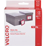 VELCRO BRAND STICKON HOOK AND LOOP DOTS 22MM WHITE PACK 62