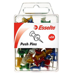 ESSELTE PUSH PINS ASSORTED PACK 50