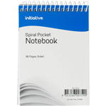 INITIATIVE SPIRAL NOTEBOOK POCKET TOP BOUND 112 X 77MM 96 PAGE