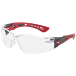 BOLLE SAFETY RUSH PLUS SAFETY GLASSES RED AND BLACK ARMS CLEAR LENS
