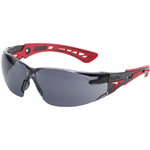 BOLLE SAFETY RUSH PLUS SAFETY GLASSES RED AND BLACK ARMS SMOKE LENS