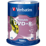 VERBATIM DVDR 47GB 16X WHITE PRINTABLE PACK 100