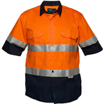 PRIME MOVER MA802 COTTON DRILL SHIRT SHORT SLEEVE LIGHTWEIGHT WITH TAPE 2 TONE