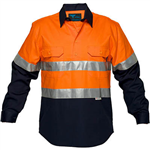 PRIME MOVER MC101 COTTON DRILL SHIRT LONG SLEEVE REGULAR WEIGHT CLOSED FRONT WITH TAPE 2 TONE
